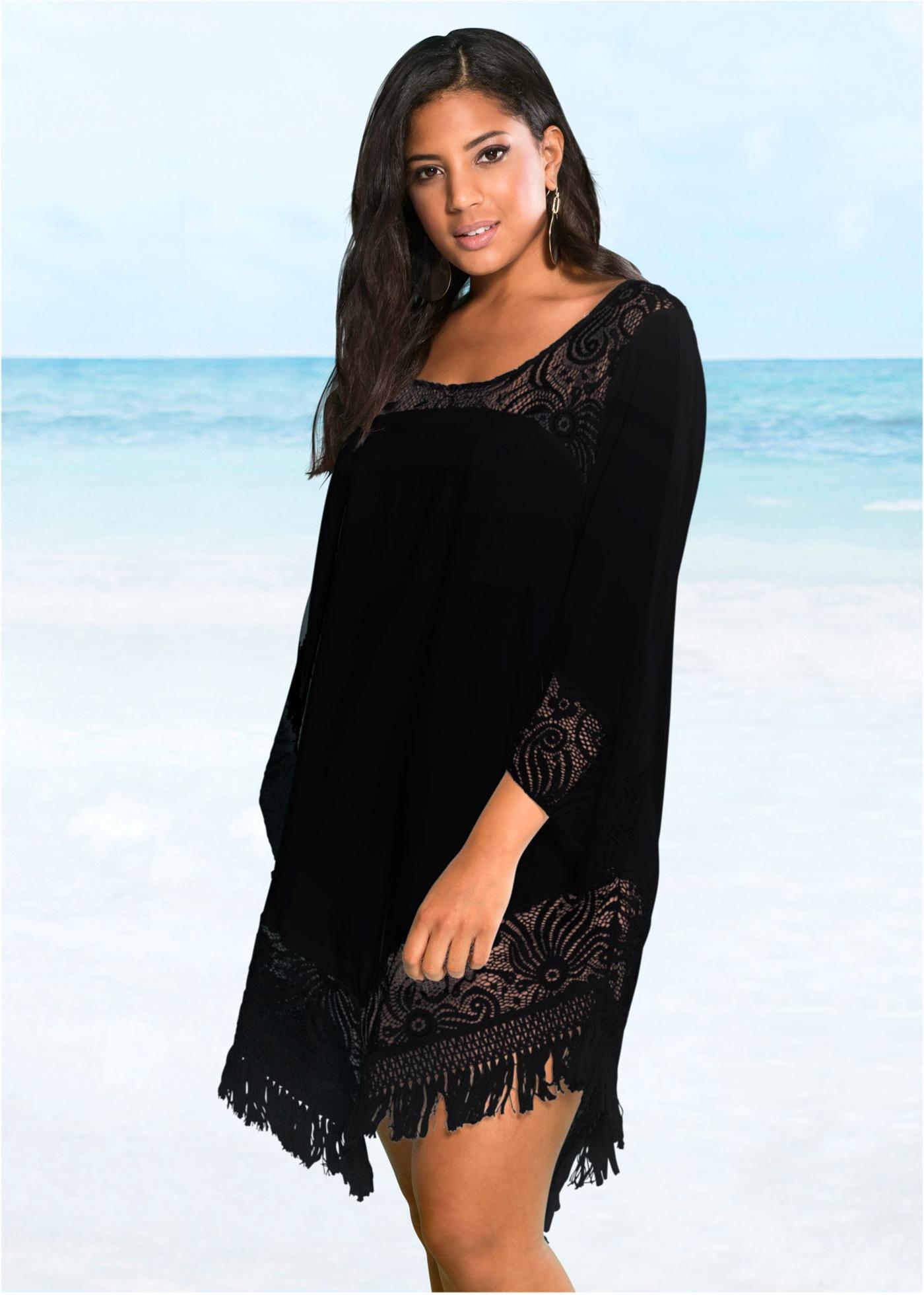 Plážová dlouhá tunika s krajkou - Černá