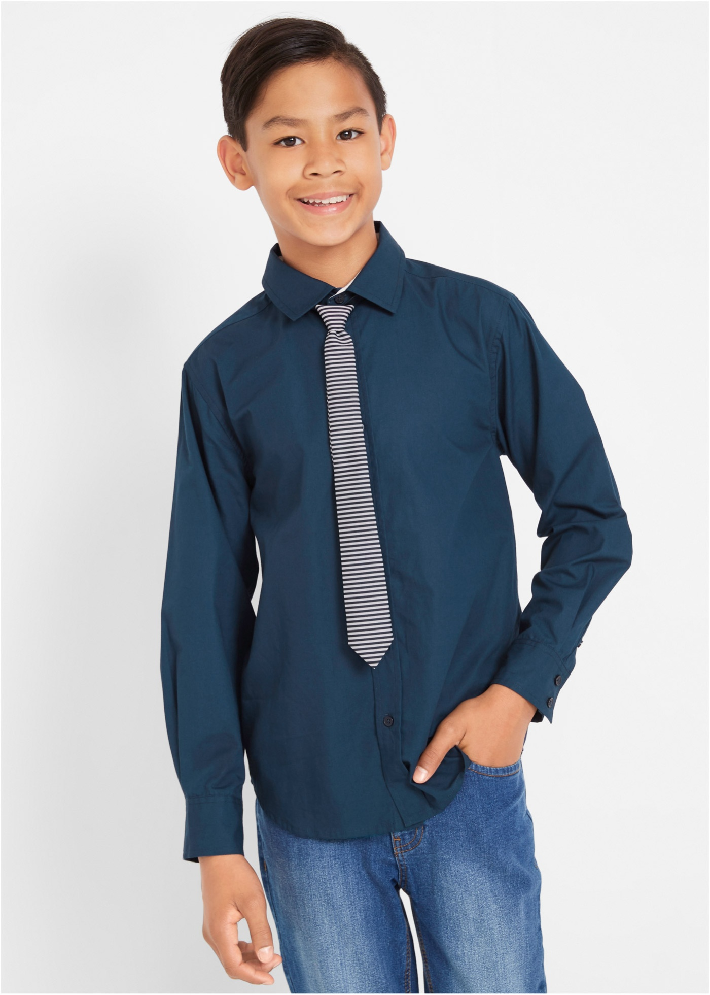 Košile s dlouhým rukávem a kravatou Slim Fit (2dílná souprava) - Modrá