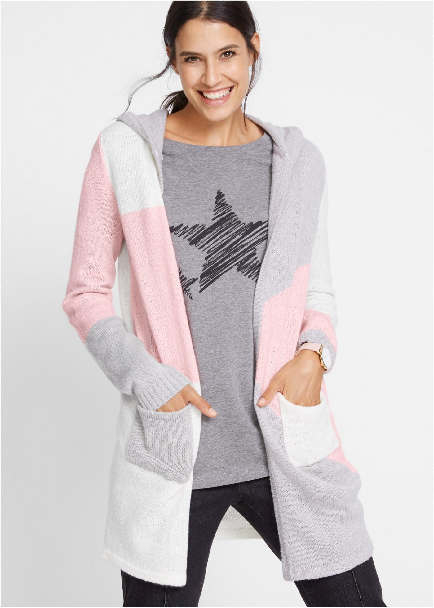 Pletený kabátek s kapucí - Růžová