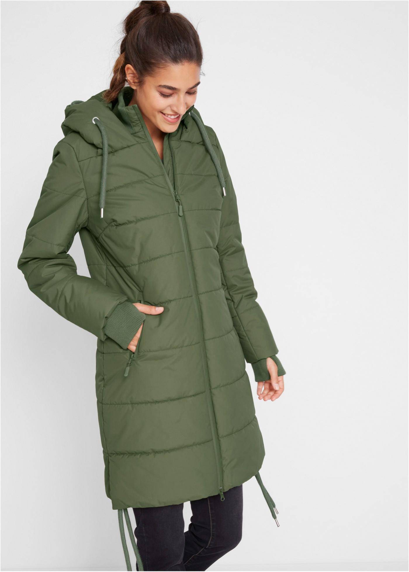 Outdoorový prošívaný kabát - Zelená