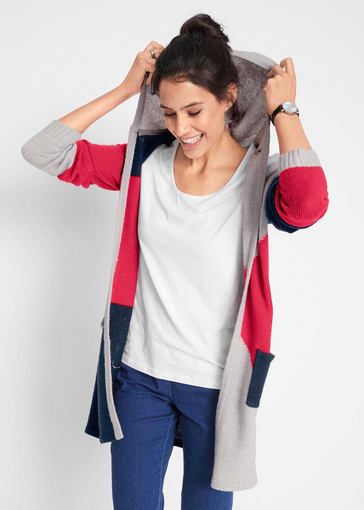 Pletený kabátek s kapucí - Červená