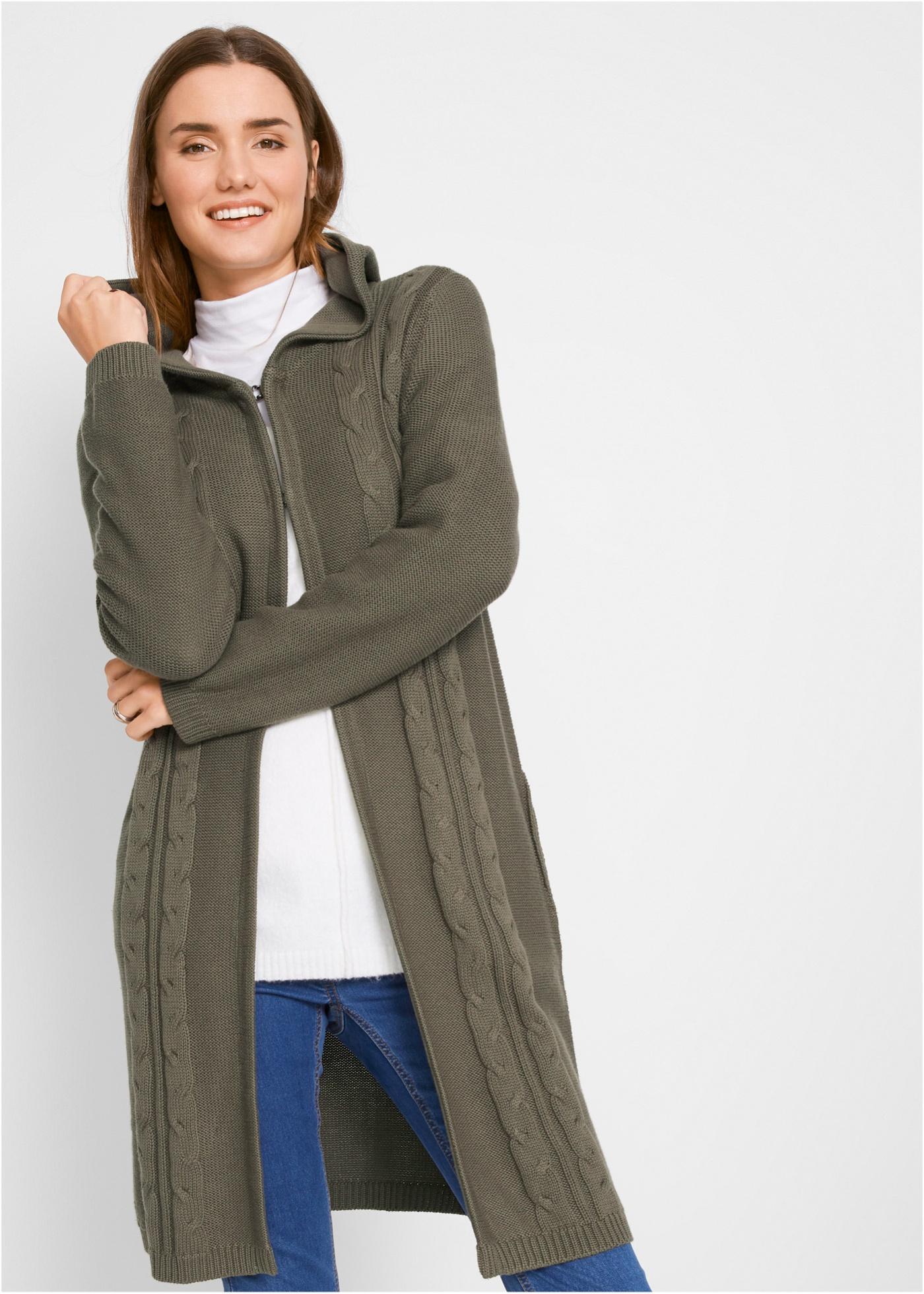 Dlouhý pletený kabátek s kapucí - Zelená