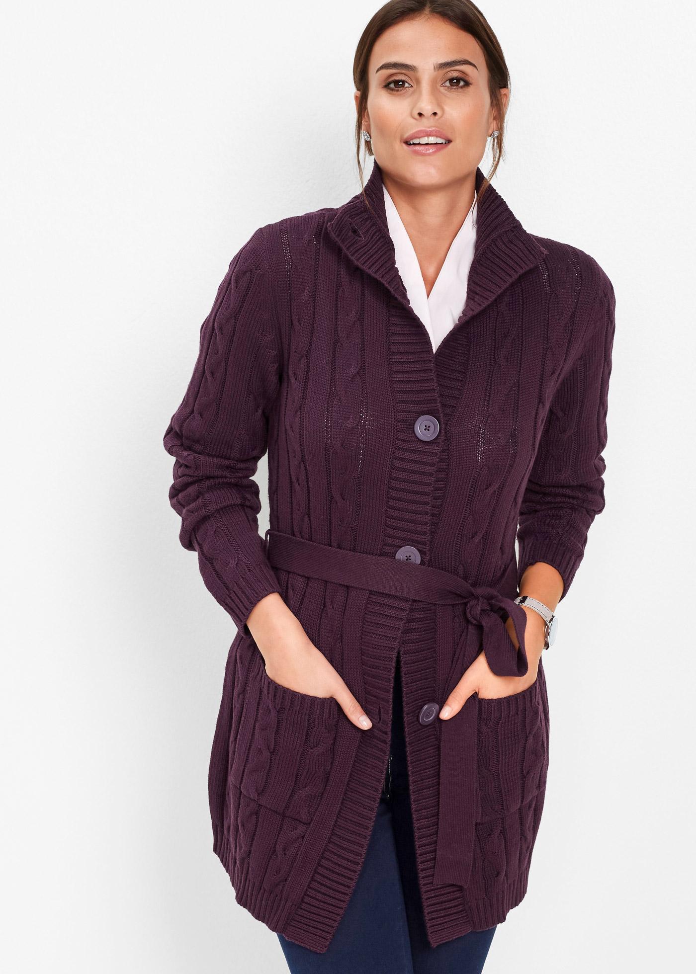 Dlouhý pletený kabátek - Fialová