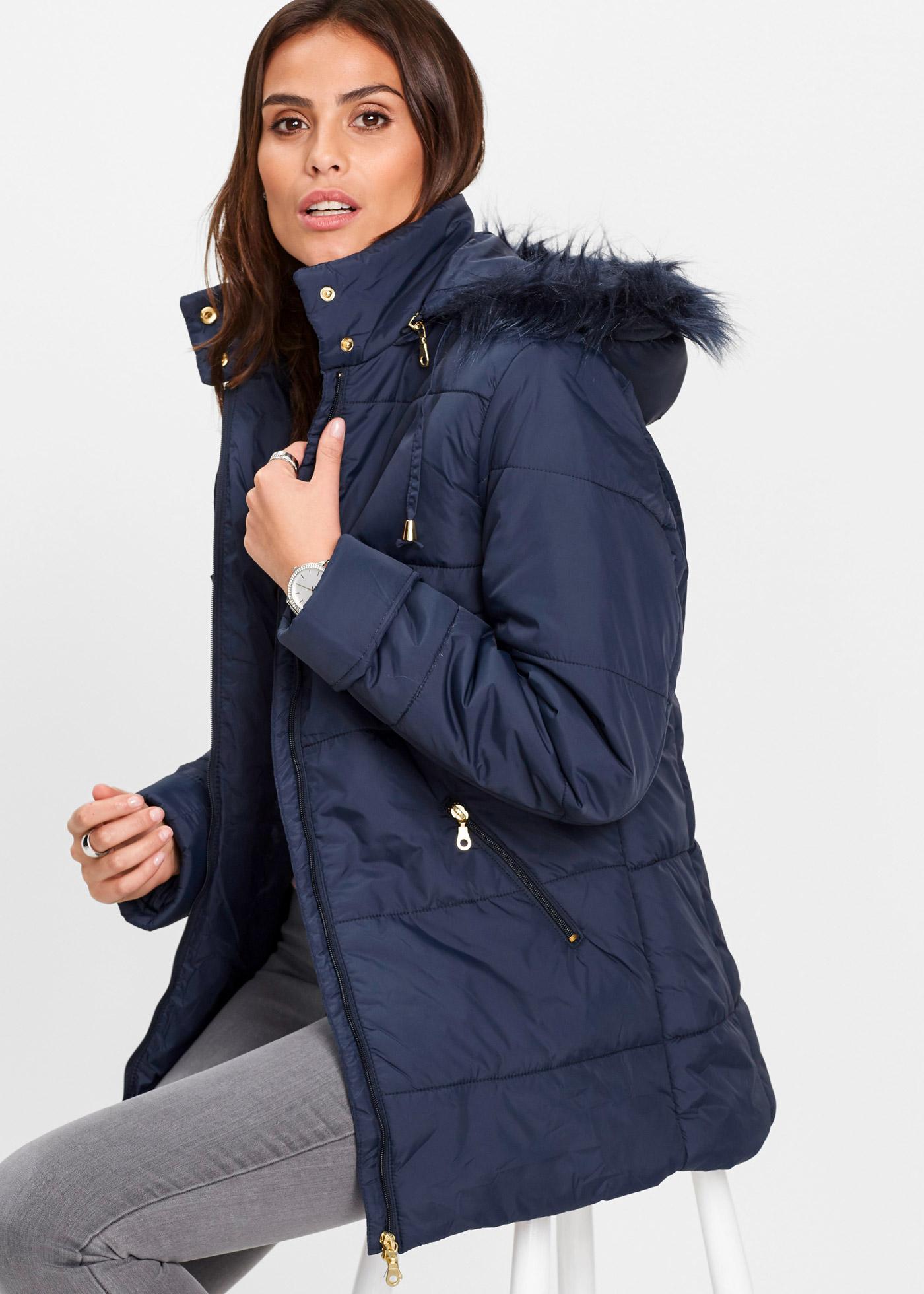 Prošívaná bunda s umělou kožešinou - Modrá