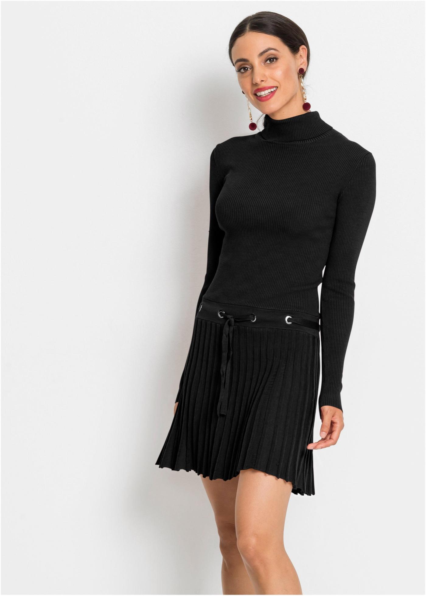Skládané pletené šaty - Černá