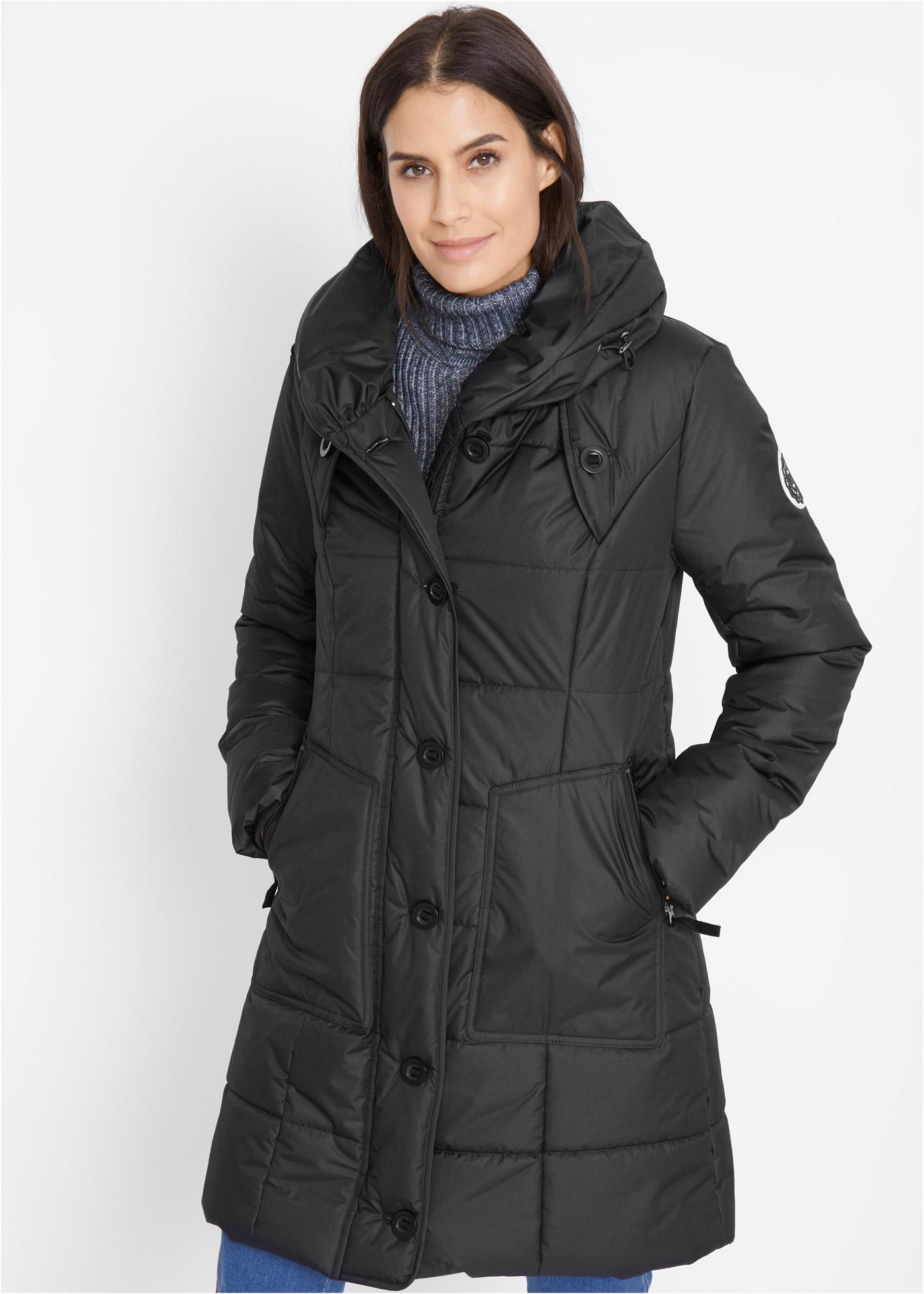 Krátký prošívaný kabát - Černá