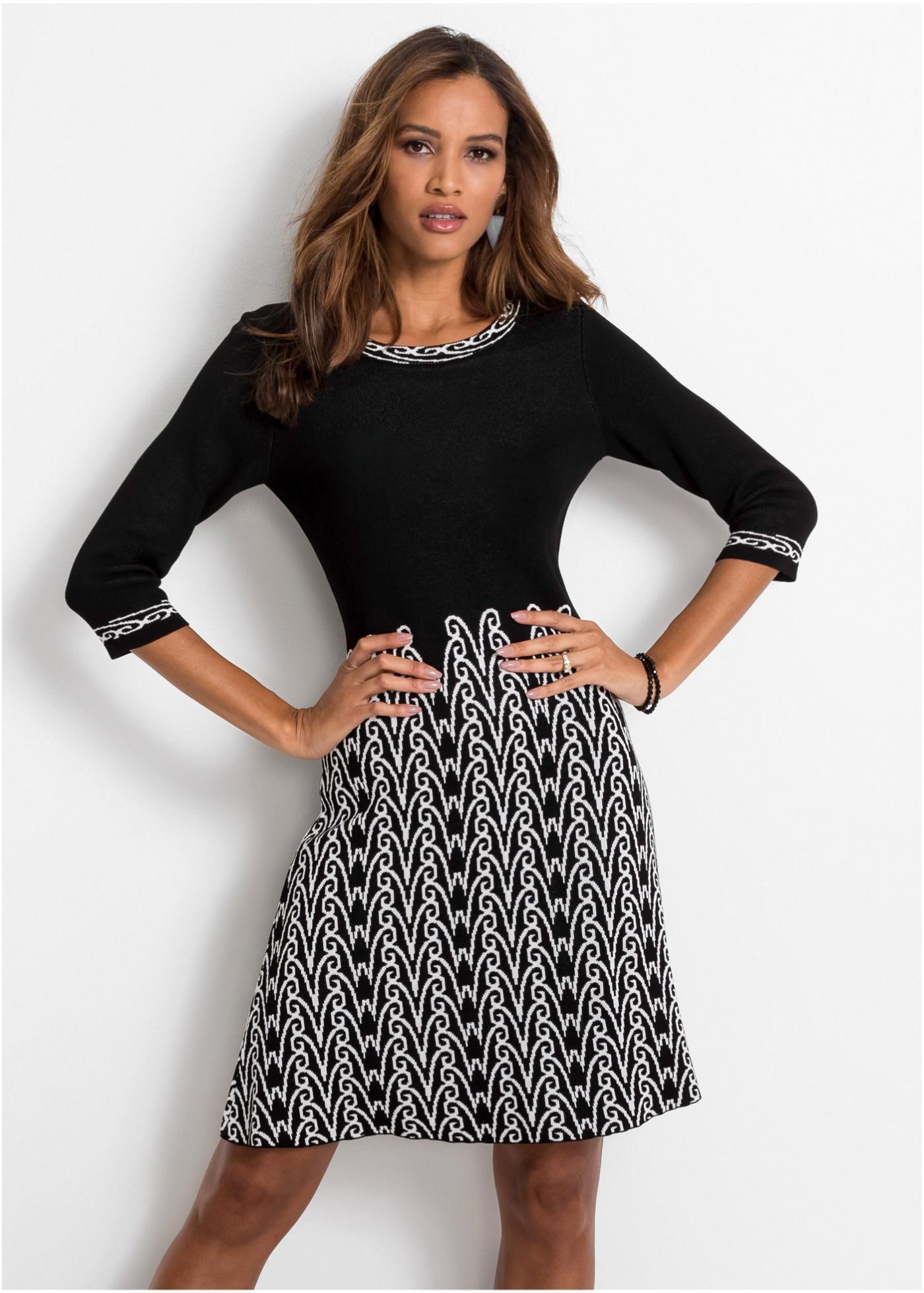 Pletené šaty se vzorem - Černá