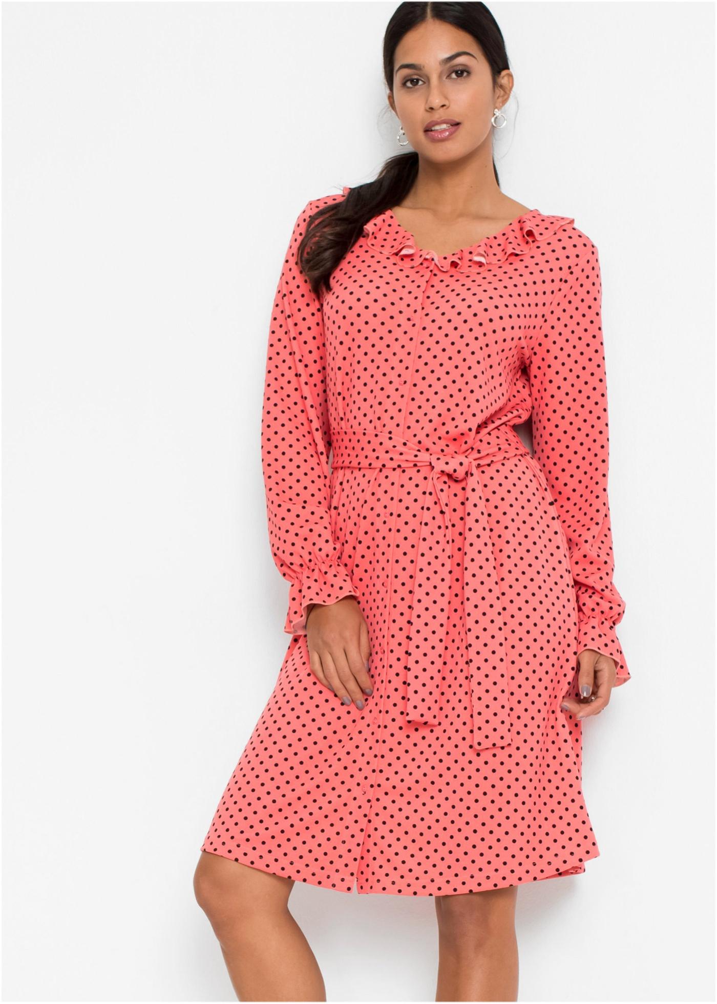 Šaty s puntíky - Pink