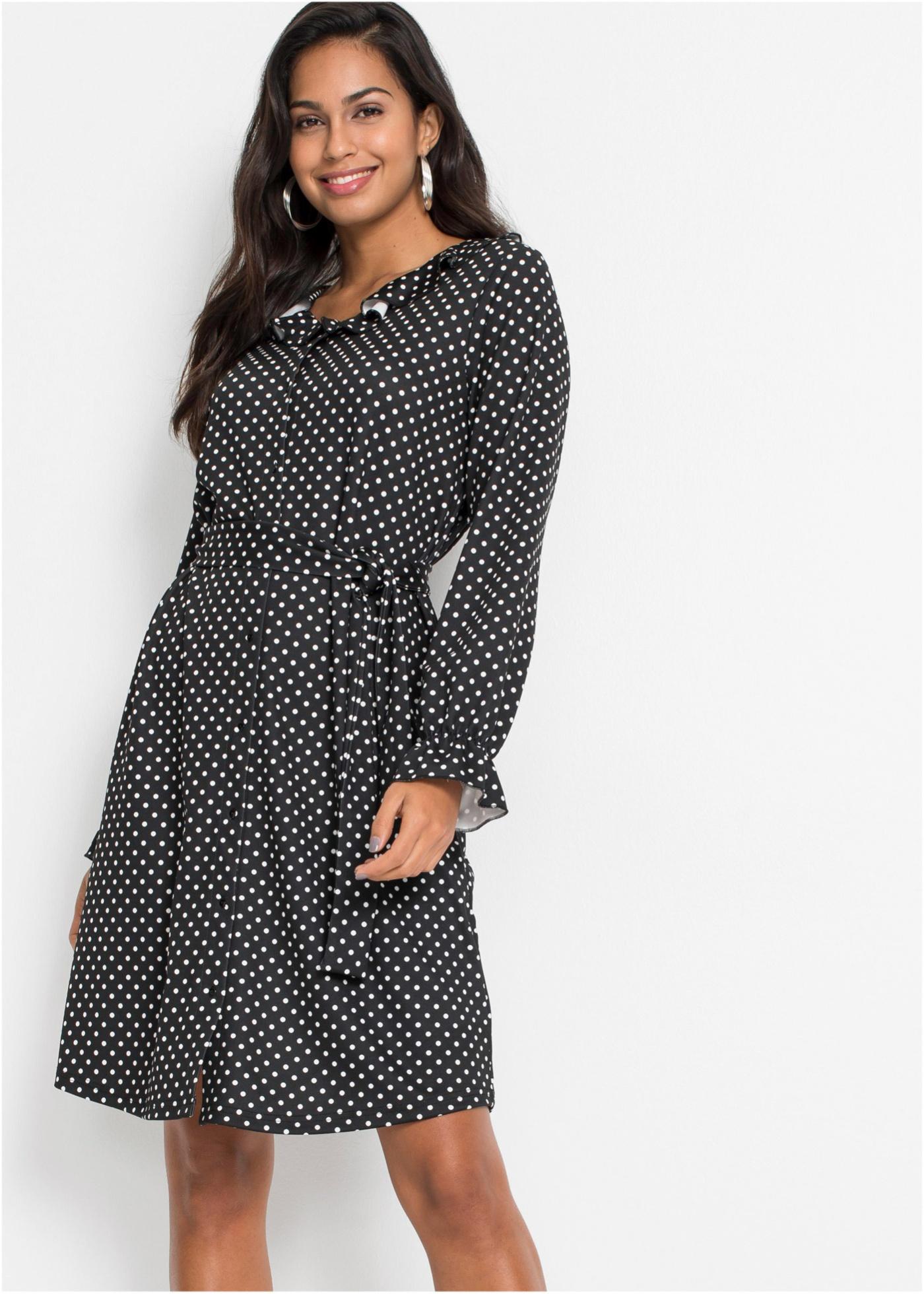 Šaty s puntíky - Černá