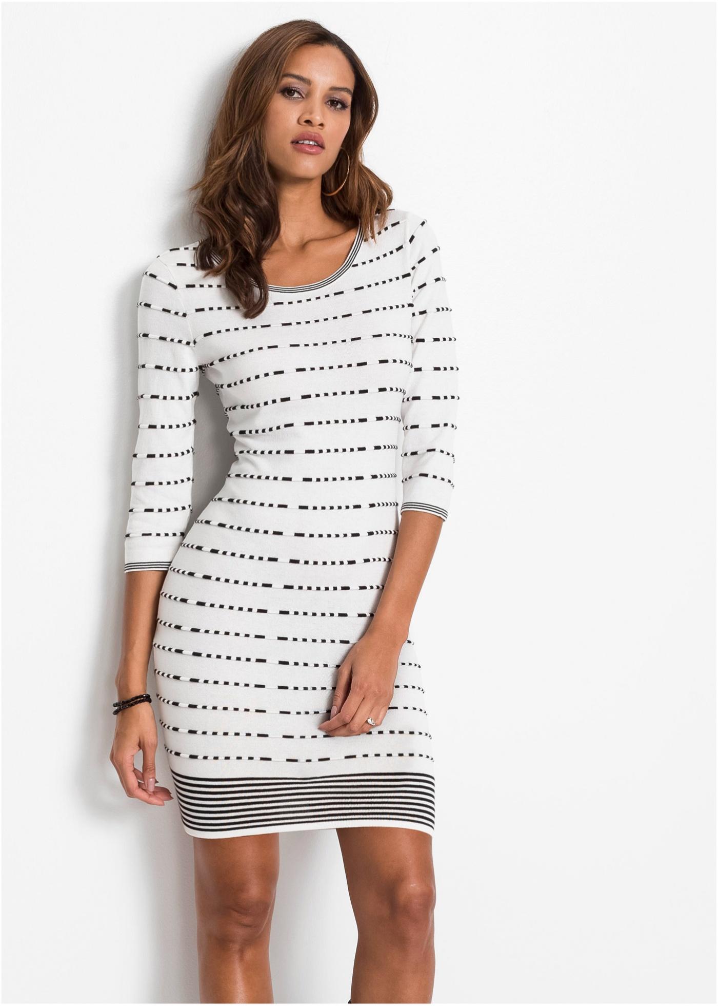 Pletené šaty - Bílá