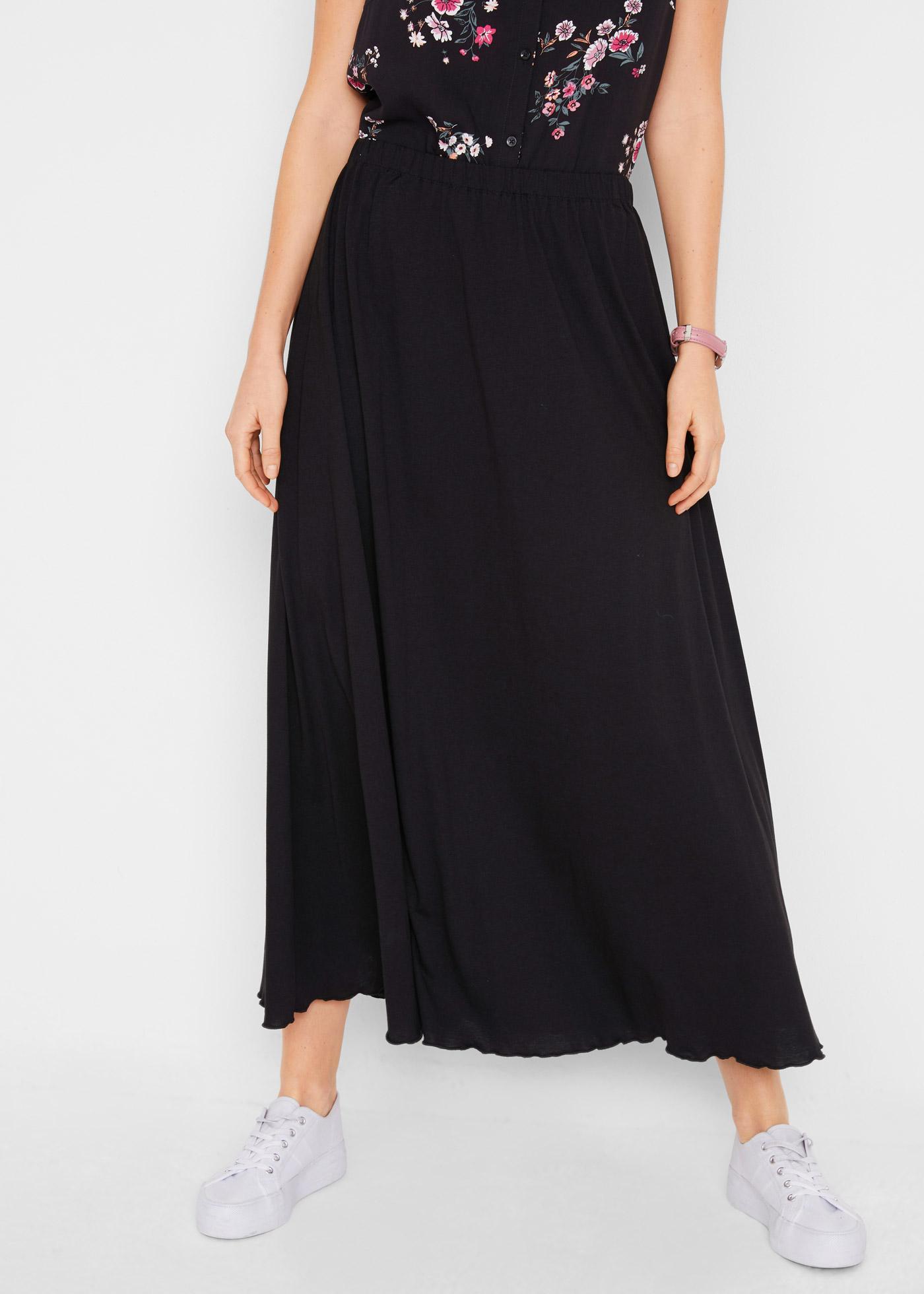 Dlouhá žerzejová sukně - Černá