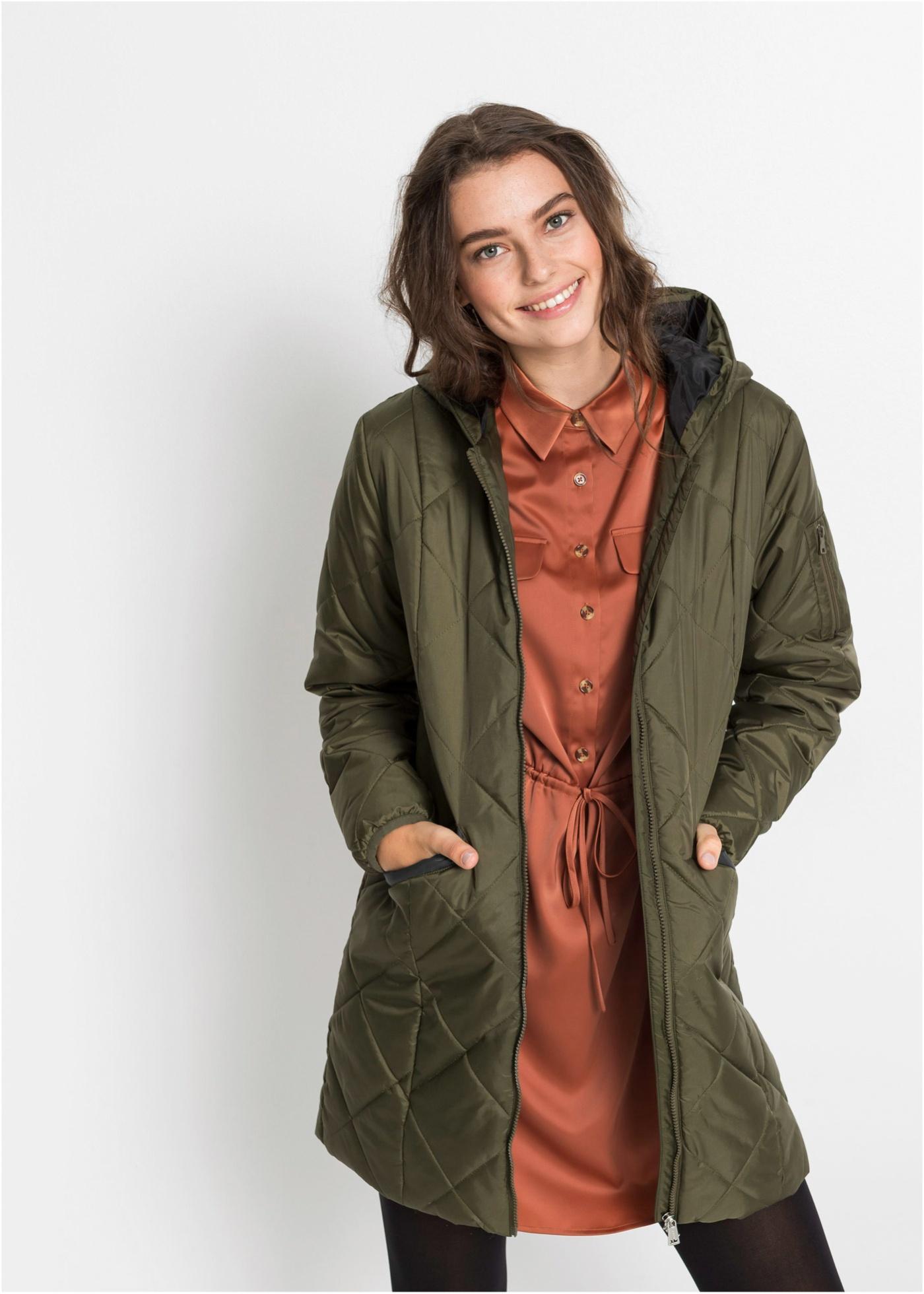Prošívaný kabát, dvoubarevný - Zelená