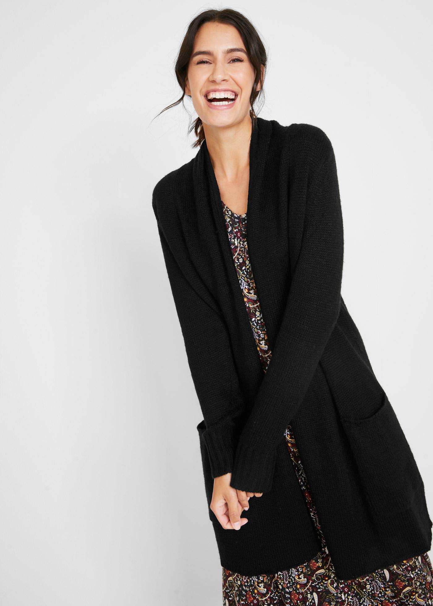 Dlouhý pletený kabátek s recyklovanou bavlnou - Černá