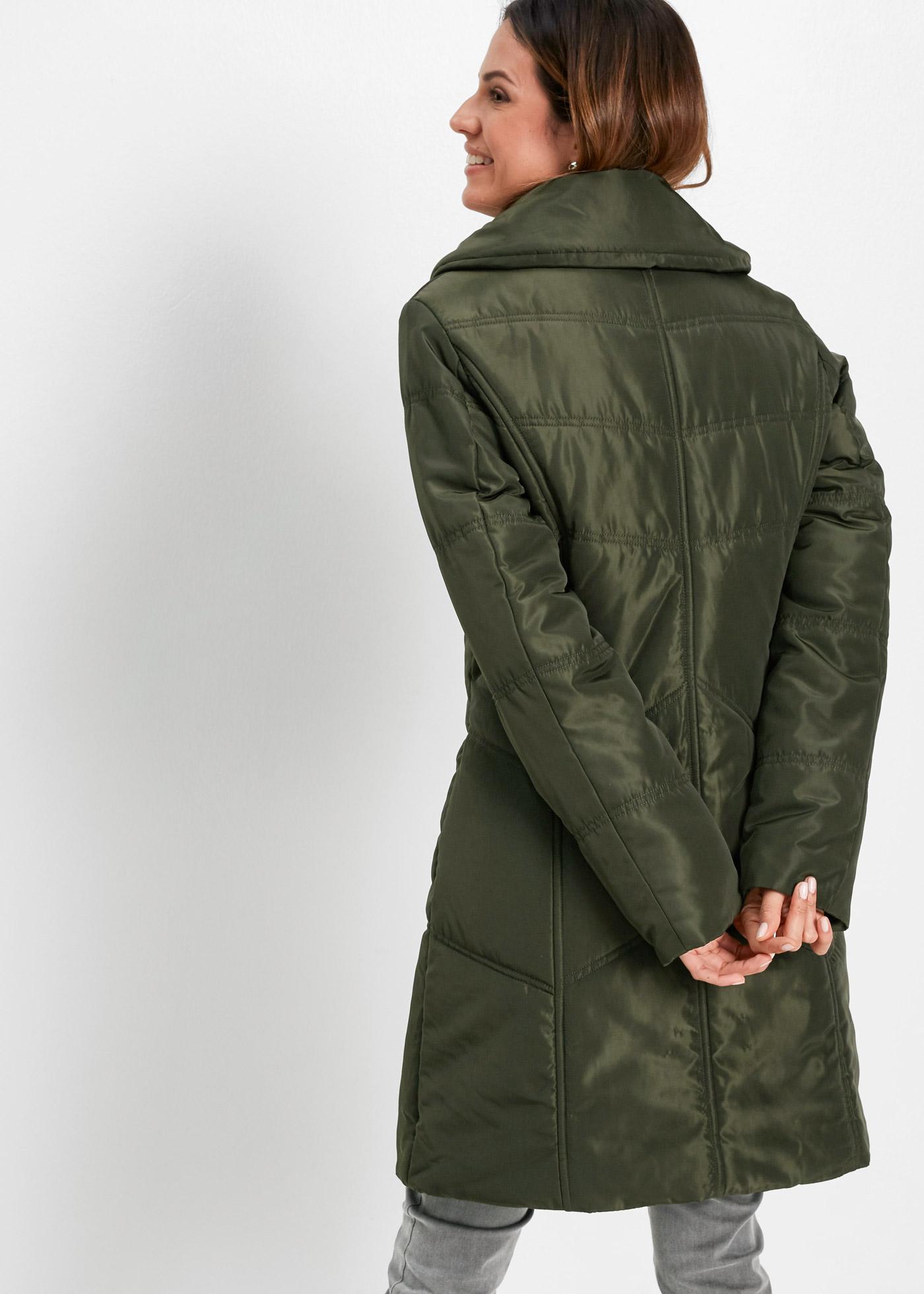 Krátký prošívaný kabát - Zelená