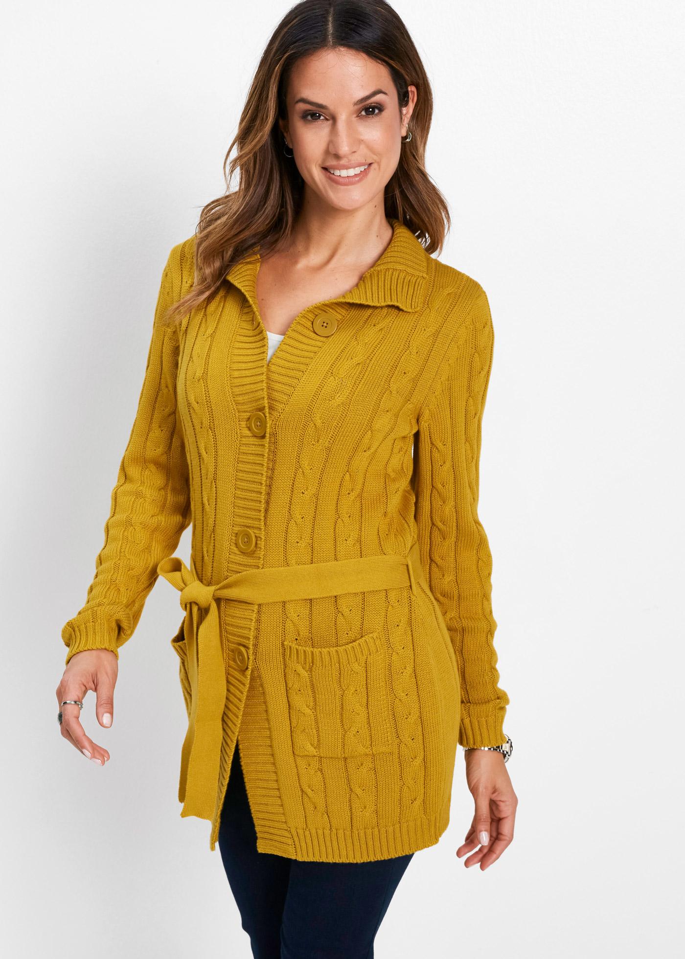 Dlouhý pletený kabátek s copánkovým vzorem - Hnědá