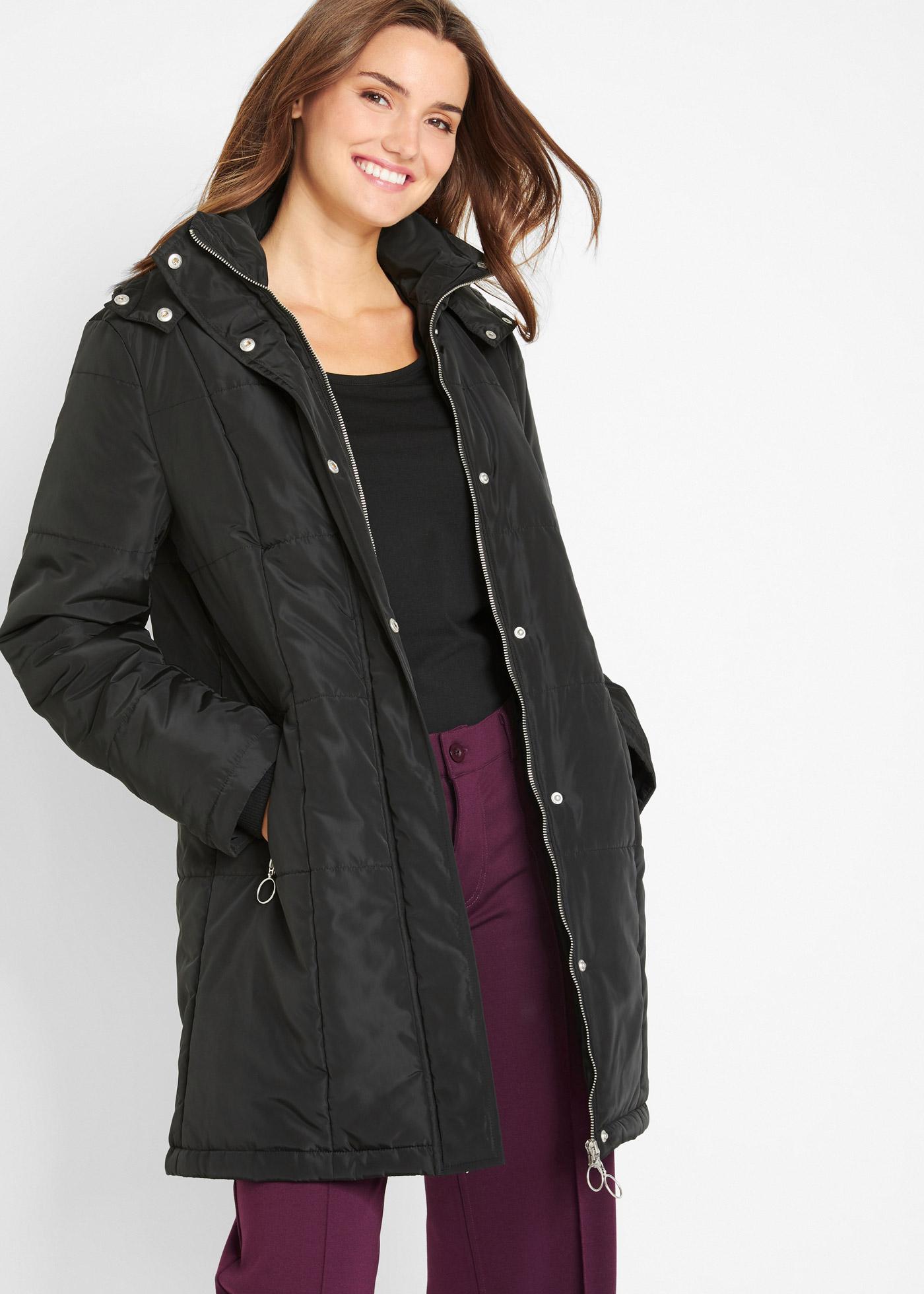 Prošívaný kabát - Černá
