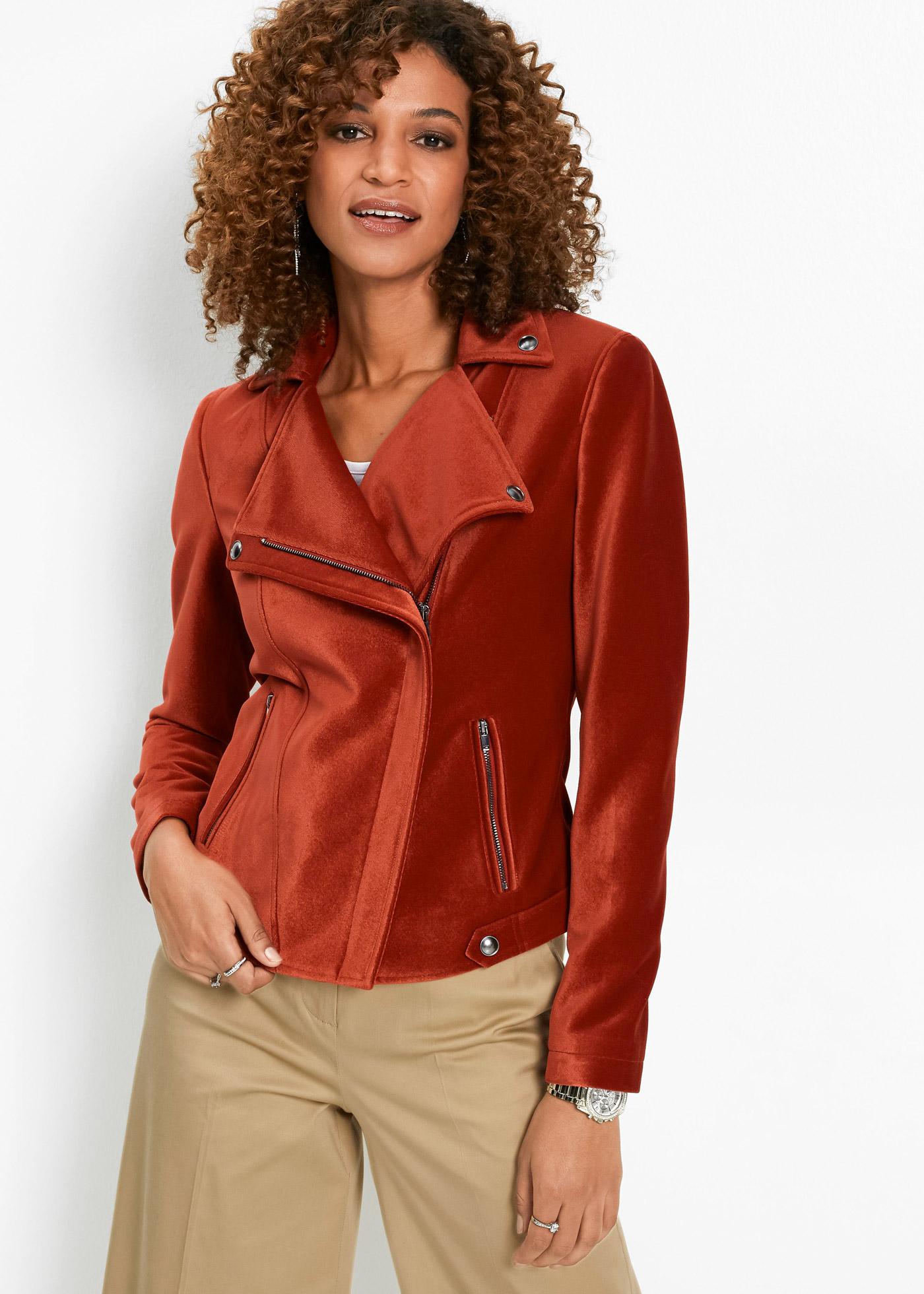 Motorkářská bunda ze sametu - Červená