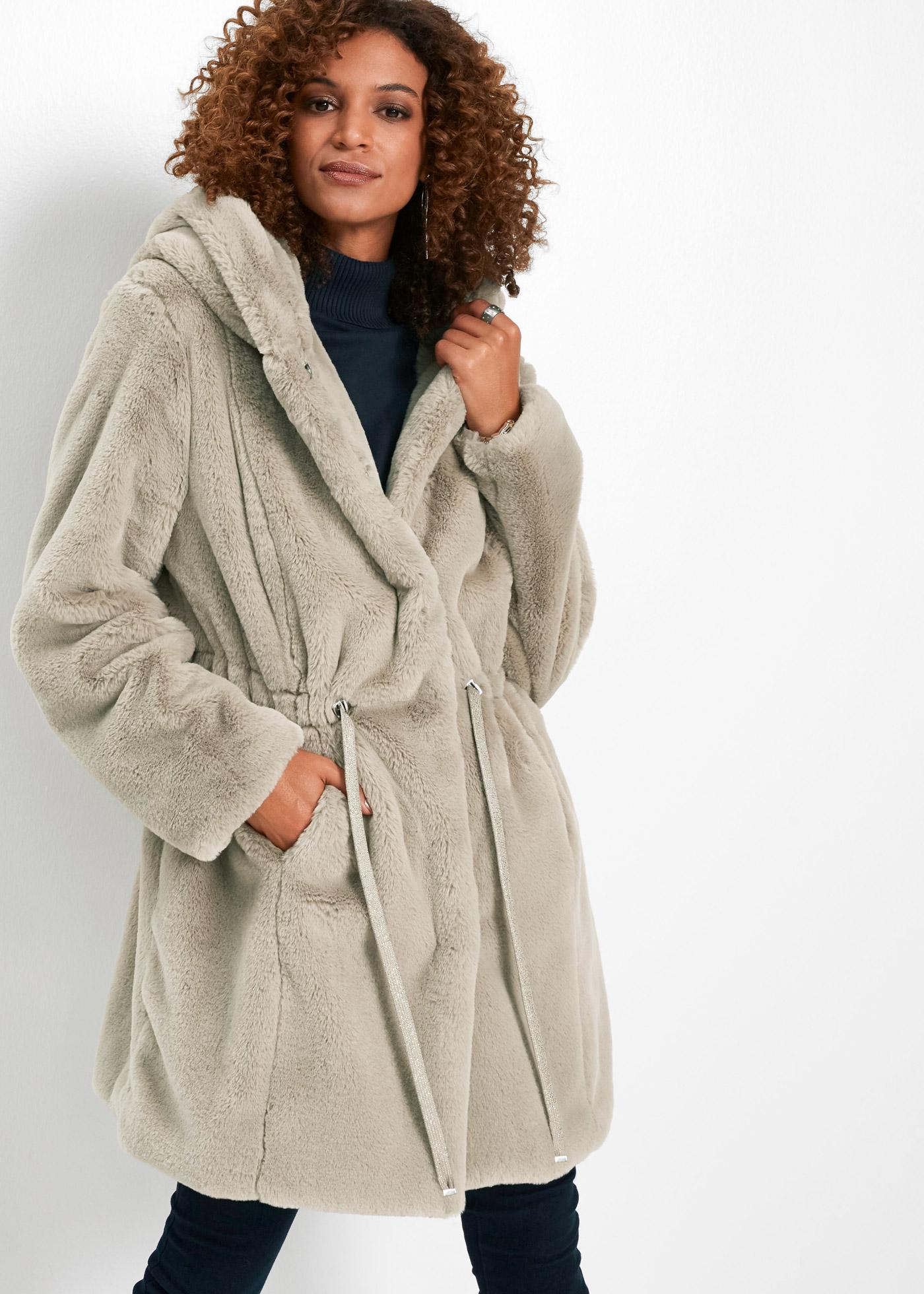 Kabát z umělé kožešiny - Béžová