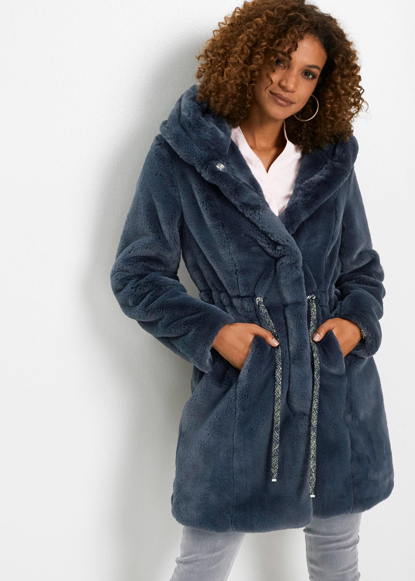 Kabát z umělé kožešiny - Modrá