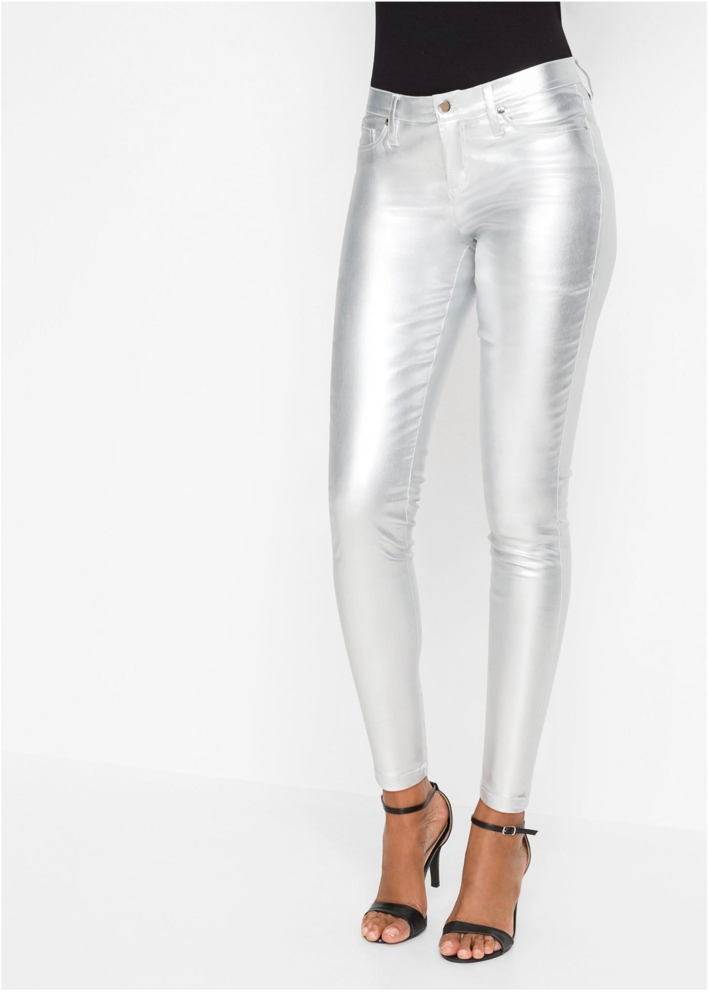 Lesklé kalhoty Skinny - Šedá