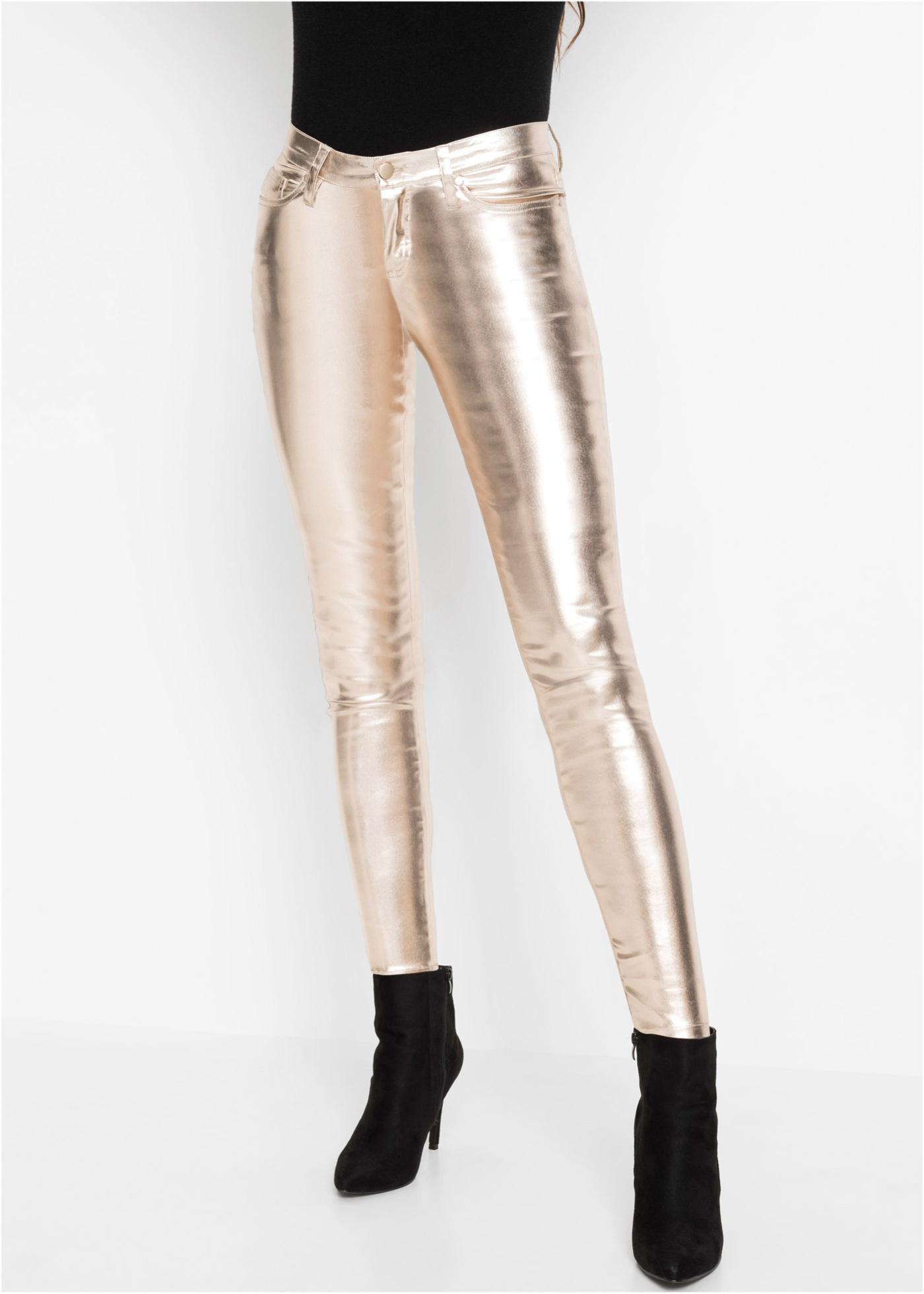 Lesklé kalhoty Skinny - zlatá