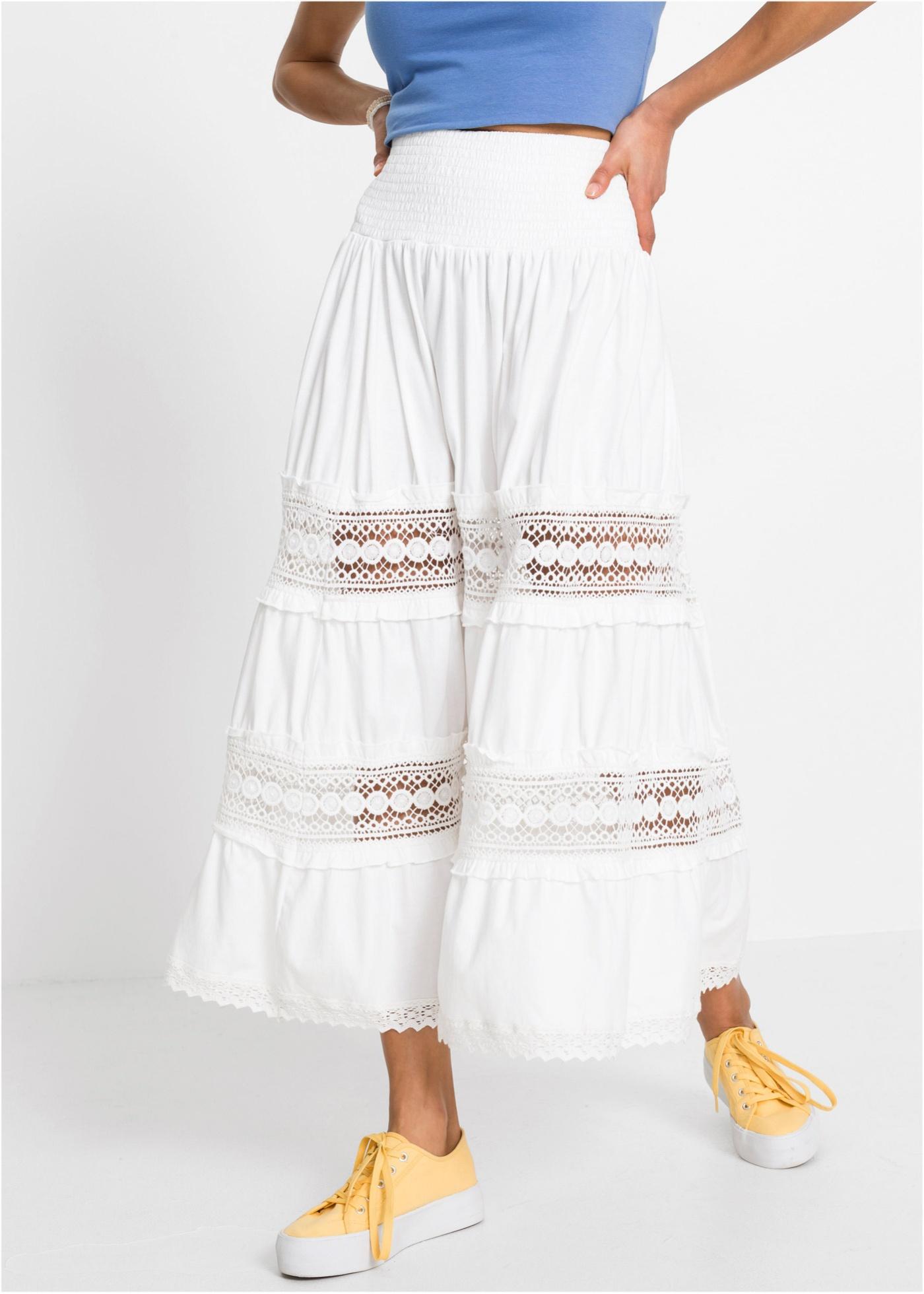 Dlouhá sukně s krajkou - Bílá