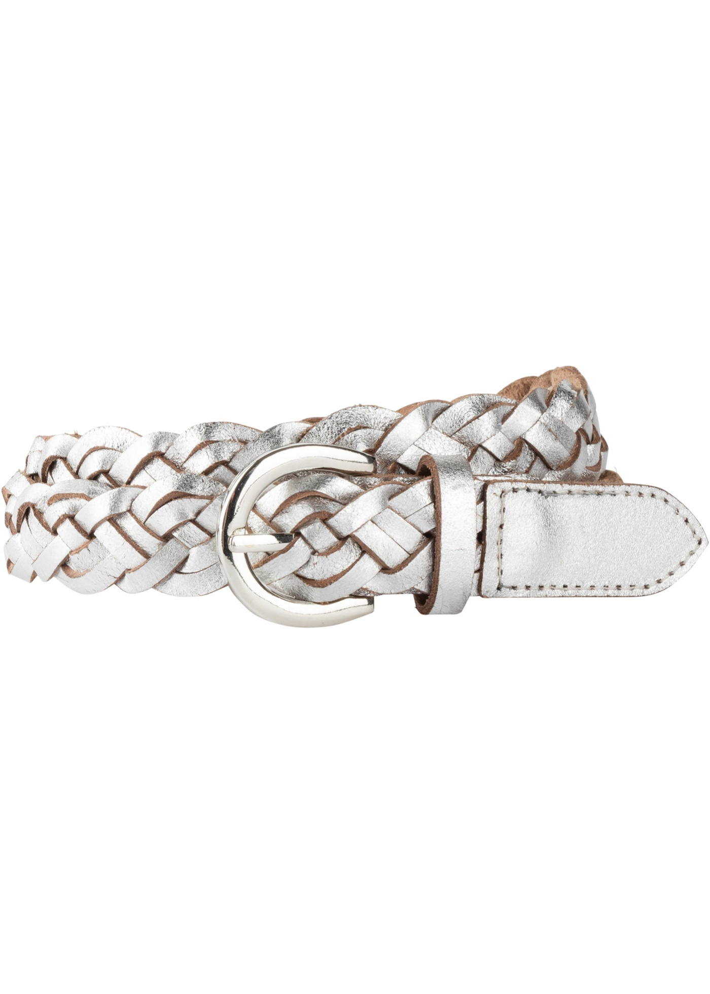 Kožený pásek - Stříbrná