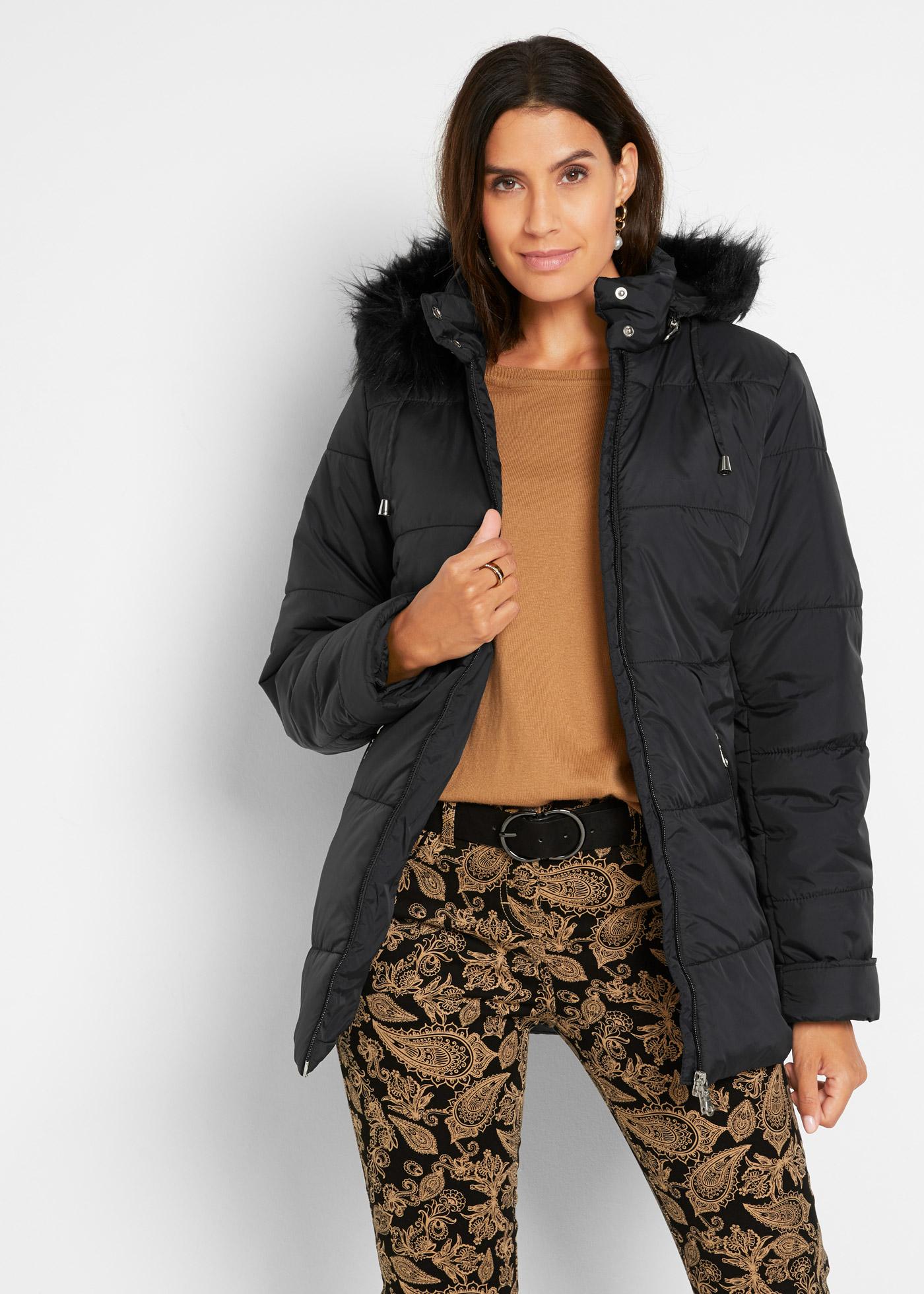 Prošívaná bunda s umělou kožešinou - Černá