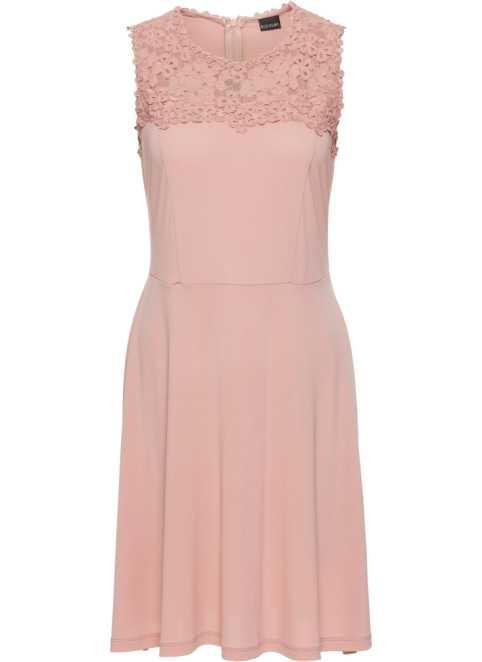 47aba29fbab Žerzejové šaty s krajkou růžová vintage - BODYFLIRT koupit online -  bonprix.cz