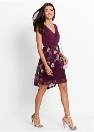 Žerzejové šaty se síťovanou sukní bobulová s květy - BODYFLIRT ... dbf2886bc6