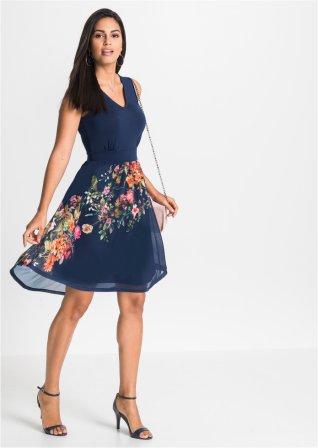 Žerzejové šaty se síťovanou sukní půlnočně modrá s květy - BODYFLIRT ... 7a3039b4c7
