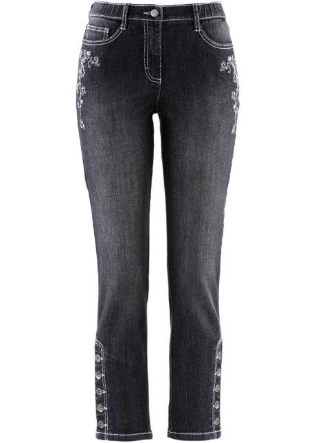 dafe4832da21 Krojové džíny s výšivkou v 7 8 délce