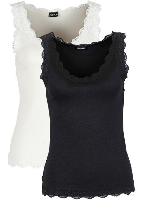 fa4b3e5e103 Top s krajkou (2 ks v balení) černá + přírodní bílá - Žena ...