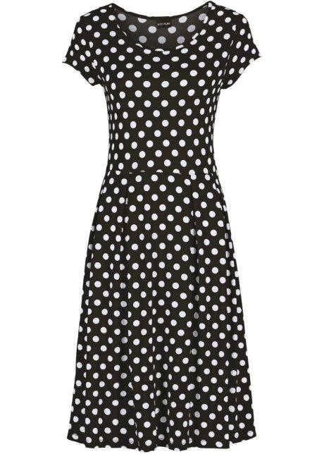 850c5dfb5bc Letní žerzejové šaty černo-bílá s puntíky - Žena - bonprix.cz