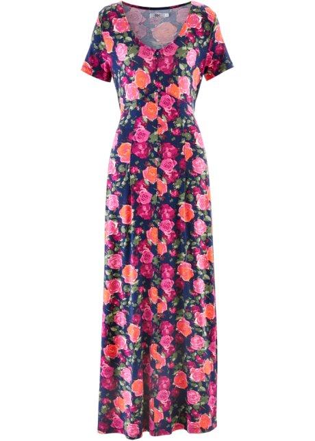 83e1d47a480 Dlouhé šaty s krátkým rukávem modrá s květy - Žena - bonprix.cz