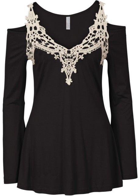 Tričko s háčkovanou vsadkou černo-krémově bílá - BODYFLIRT boutique ... 5e1a63215a