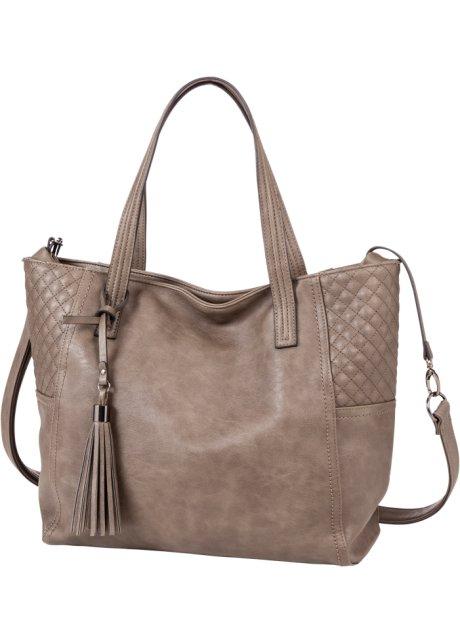 Nákupní kabelka s prošíváním a střapcem kamenná - bpc bonprix ... 8536029297c