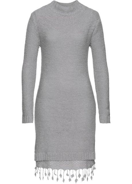 fdc57d974e7e Pletené šaty s krajkou světle šedá - RAINBOW objednat online ...