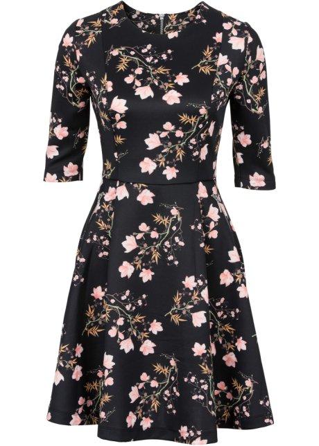 Scuba šaty černá s květy - BODYFLIRT koupit online - bonprix.cz 3724a97895