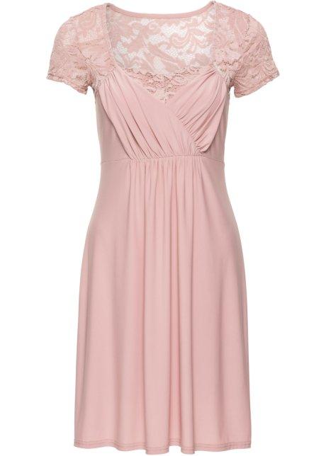 5ad096758f71 Žerzejové šaty s krajkou růžová vintage - BODYFLIRT - bonprix.cz