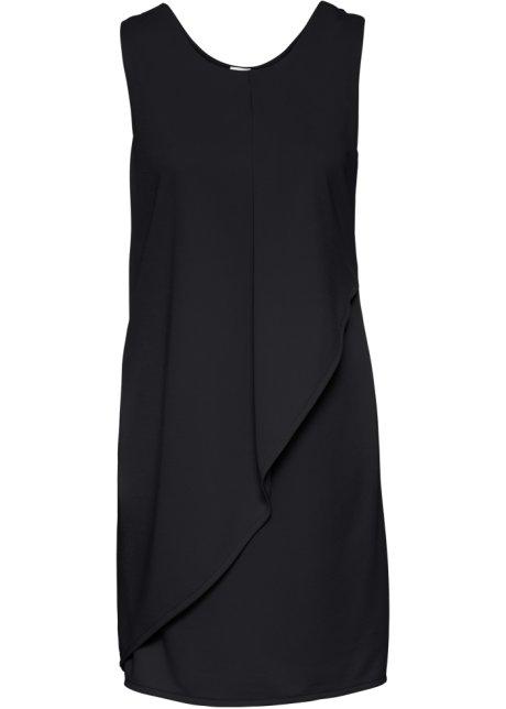 Žerzejové šaty s volánem černá - BODYFLIRT objednat online - bonprix.cz 562400df83