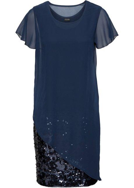 94d8a2af977d Koktejlové šaty z žerzeje s pajetkami tmavě modrá - Žena - bonprix.cz