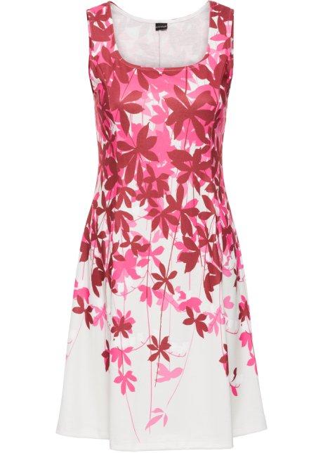 Žerzejové šaty s květinovým potiskem přírodní bílo-bobulová se ... bbffaba49f