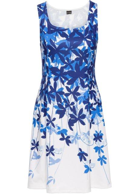 Žerzejové šaty s květinovým potiskem přírodní bílo-modrá se vzorem ... a61be66332