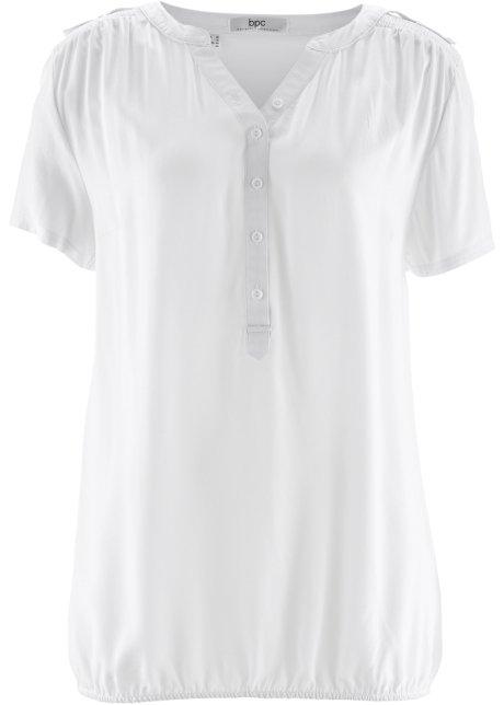 Halenková tunika s krátkým rukávem bílá - bpc bonprix collection ... e4c2d6263e