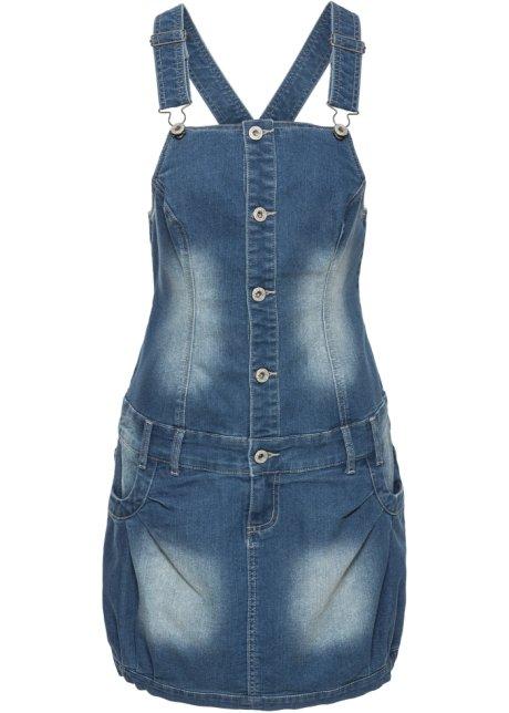 Šaty s laclem a knoflíkovou légou modrá stone - Žena - bonprix.cz b9cb51f788