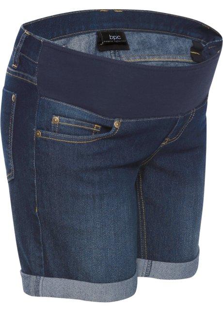 d712d176165 Těhotenské džínové šortky s podbřišním pásem tmavě modrá stone - bpc ...