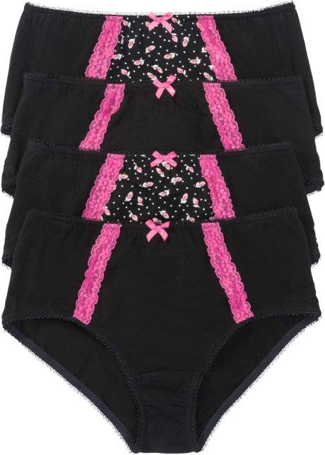 Vysoké kalhotky (4 ks v balení) černo-pink květovaná - bpc bonprix ... 9ff3f095e3