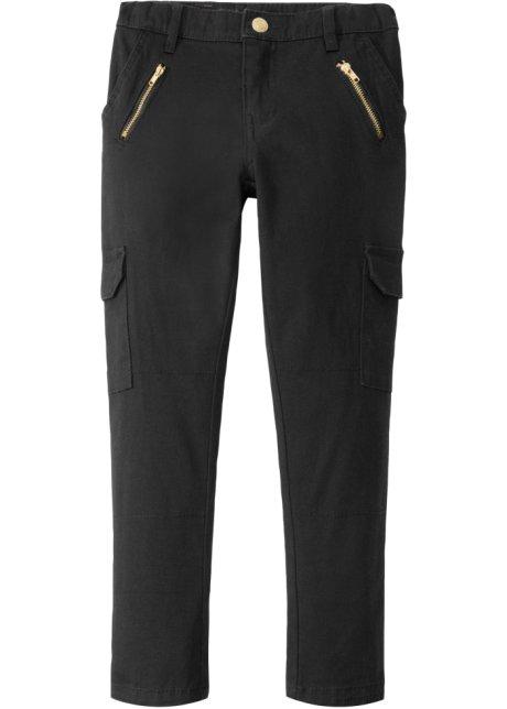 Skinny Cargo kalhoty s kapsami na zip černá - Dítě - bonprix.cz a24f2e3e66