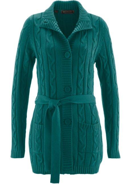 Dlouhý pletený kabátek sytě zelená - bpc selection - bonprix.cz 84f27da76d